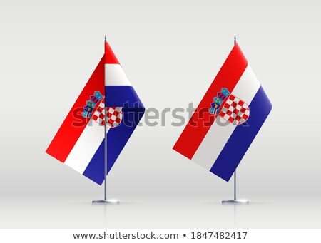 Croatia flag stand banner design, vector illustration. Stock photo © redshinestudio