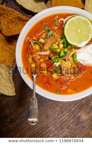 Romig kip tortilla soep voedsel kaas Stockfoto © fanfo