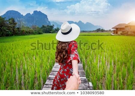Vrouw hand leidend glimlachend jonge vrouw Stockfoto © deandrobot