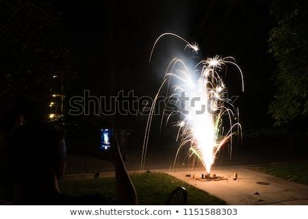 Fogos de artifício casa entrada da garagem casa festa noite Foto stock © alex_grichenko