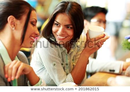 jonge · vrouw · werken · buiten · computer · drinken · koffie - stockfoto © dash