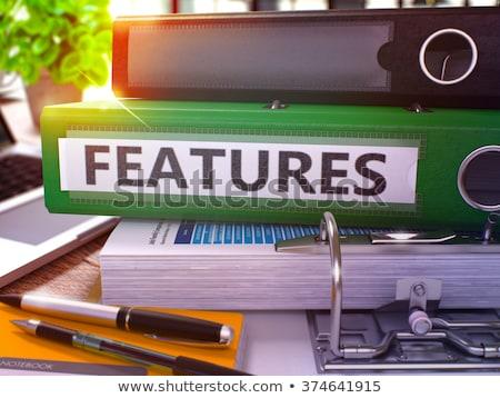 Features on Red Ring Binder. Blurred, Toned Image. Stock photo © tashatuvango