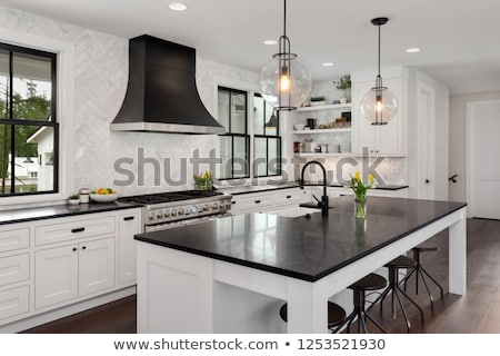 Luxurious kitchen with a big island Stock photo © jrstock