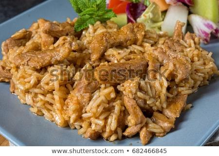 Stockfoto: Smakelijk · gerechten · Turkije · vlees · rijst · salade