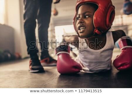 Boxeador flexiones boxeo anillo sexy trabajo Foto stock © deandrobot