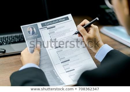 Cv tabel sollicitatiegesprek business computer kantoor Stockfoto © racoolstudio