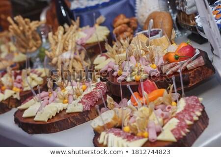 Catering gıda dekorasyon kutlama resepsiyon şarap Stok fotoğraf © jirivondrous