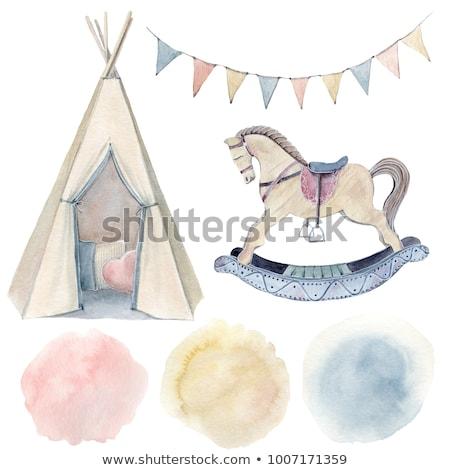 かわいい 少年 木製 馬 漫画 実例 ストックフォト © Twinkieartcat