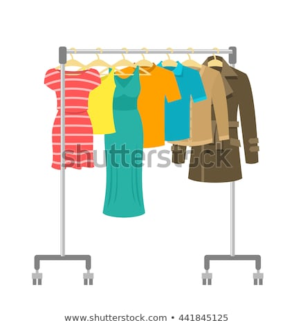 Rolling hanger rack with women clothes collection Stock photo © vectorikart