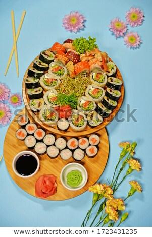 Sushi soya sosu restoran pirinç öğle yemeği taze Stok fotoğraf © M-studio