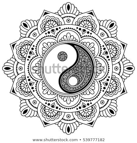 Szimbólum yin yang mandala ékszerek arany díszített Stock fotó © blackmoon979