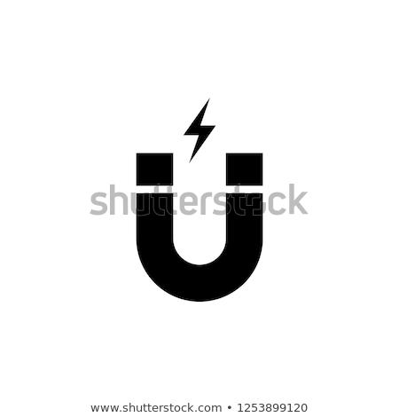 Magneet icon oranje zwarte technologie metaal Stockfoto © angelp
