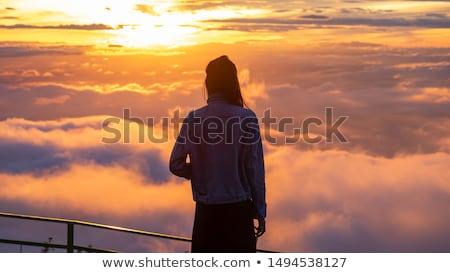 Vintage estilo nascer do sol montanha cor dois Foto stock © Yongkiet