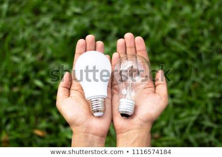 electrician holding bright idea light bulb stock photo © rastudio