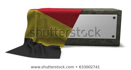 Stock fotó: Kő · foglalat · üres · tábla · zászló · 3D · renderelt · kép