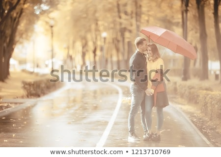beautiful couple on the background of forest stock photo © tekso