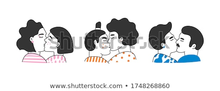 Gay kissing. LGBT love. guy kiss isolated Stock photo © MaryValery