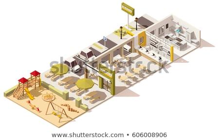 Isometrische fast food gebouw huis 3D icon Stockfoto © Genestro