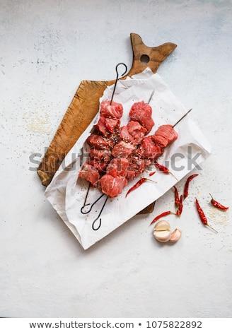Nyers marhahús nyárs főzés BBQ Stock fotó © M-studio