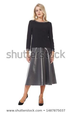 Kleurrijk foto vrouw witte top donkere Stockfoto © julenochek