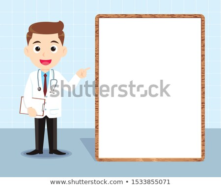 Young doctor in medical gown giving presentation. Stock photo © RAStudio
