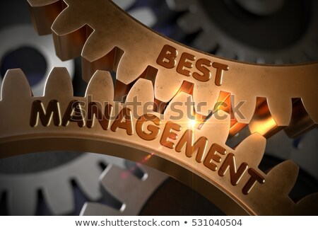 CRM Consulting Concept. Golden Metallic Cogwheels. 3D. Stock photo © tashatuvango