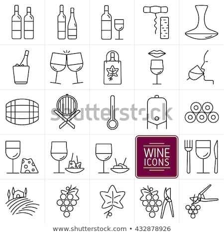 set of wine glasses for alcoholic drinks of thin lines vector illustration stock photo © kup1984