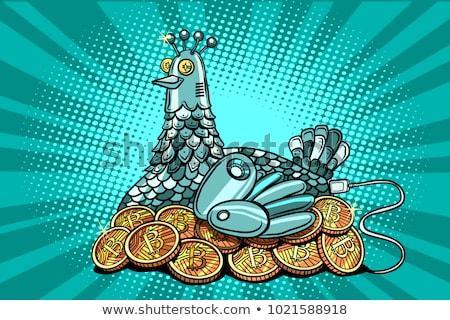Kip elektronische geld bitcoin komische cartoon Stockfoto © rogistok