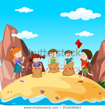 Many children in jumping race on island Stock photo © bluering