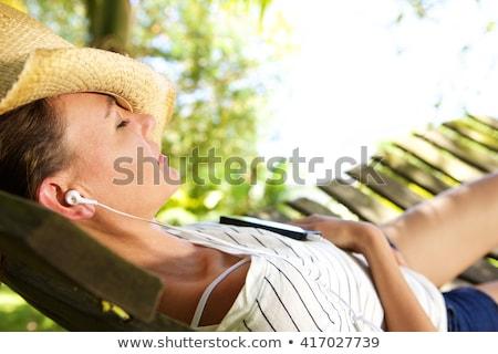 Lányok függőágy fa kert utazás jókedv Stock fotó © IS2