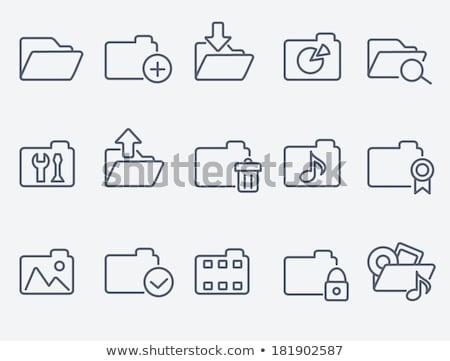 numérique · vidéo · dossier · jaune · interface · ordinateur - photo stock © rastudio