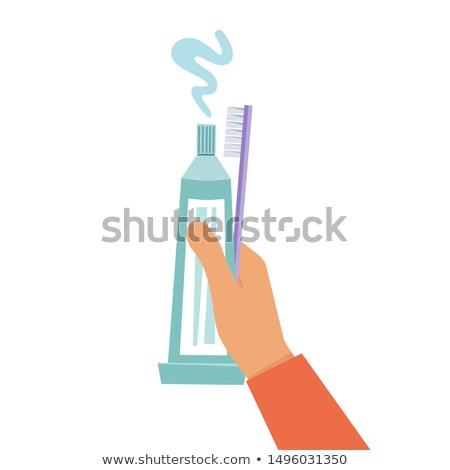 A man holding a tube of toothpaste and lid Stock photo © IS2