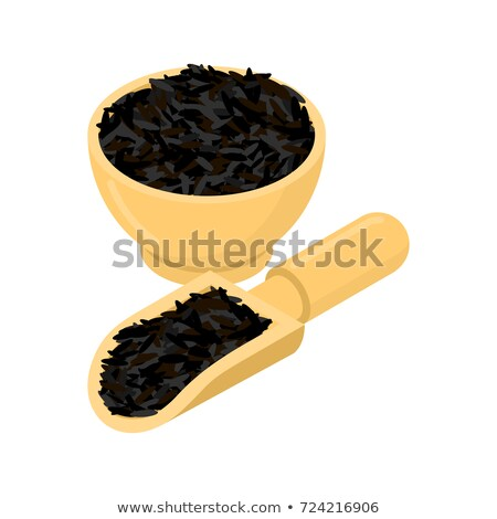 black rice in wooden bowl and spoon groats in wood dish and sho stock photo © maryvalery