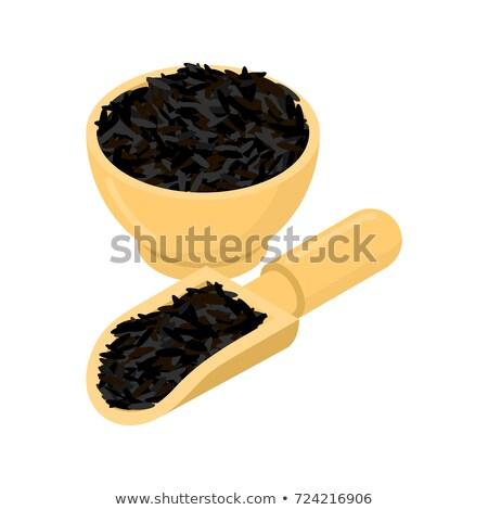 arroz · tigela · colher · madeira · prato - foto stock © maryvalery