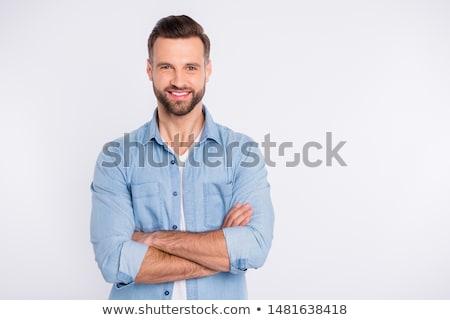 Portret radosny biznesmen ręce fałdowy patrząc Zdjęcia stock © feedough