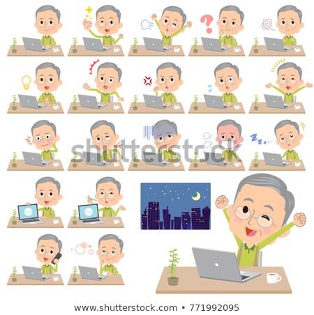 Vert vêtements travaux ordinateur famille sourire Photo stock © toyotoyo