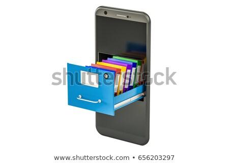service phone with filing cabinet on white background. Isolated  Stock photo © ISerg
