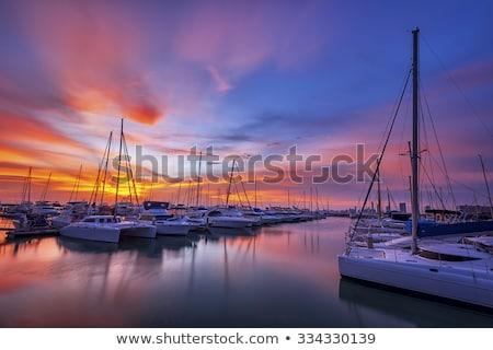 Photo stock: Marina · coucher · du · soleil · pêche · bateaux