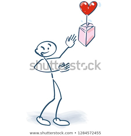 Stick figure makes a package with a heart rise in the air Stock photo © Ustofre9