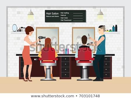 Barbiere client parrucchiere shop design Foto d'archivio © Linetale