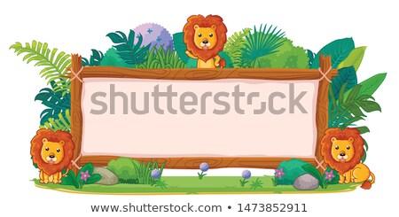 Cartoon giraffe hout teken illustratie Stockfoto © cthoman