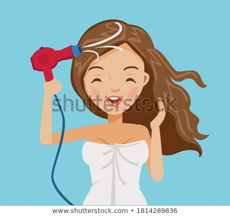 teenager girl drying her hair with hair dryer vector isolated illustration stock photo © pikepicture
