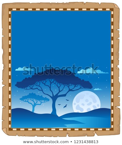 Parchment with savannah night scenery Stock photo © clairev