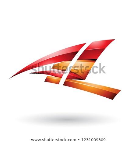 Piros narancs dinamikus fényes repülés l betű Stock fotó © cidepix
