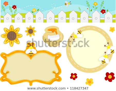 Bee houten frame illustratie hout ontwerp kunst Stockfoto © colematt