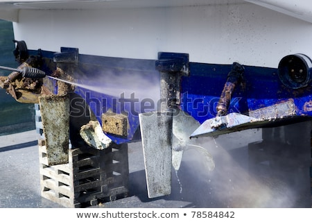 Kék csónak takarítás nyomás alátét munka Stock fotó © lunamarina