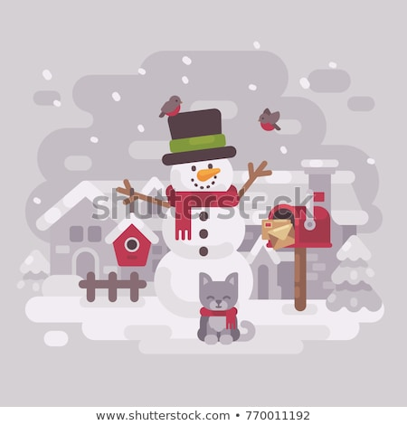 happy snowman in a hat and scarf with a cute kitten standing nea stock photo © ivandubovik