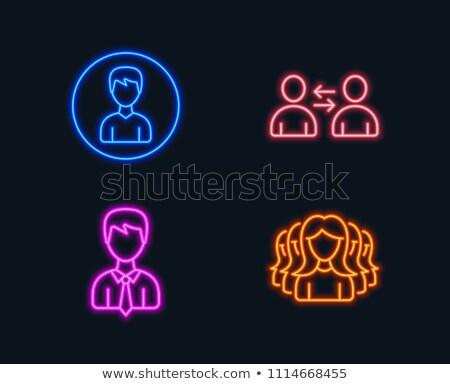 Paars pak man avatar mensen icon Stockfoto © Krisdog
