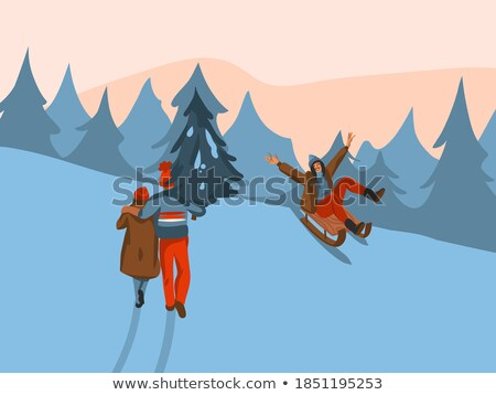 Sneeuw man vector winter leuk activiteit Stockfoto © pikepicture