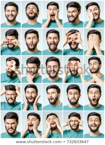 Man with many facial expressions Stock photo © colematt